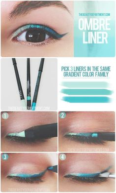 Ombre eyeliner! Wow! This eye make up is amazing - 3 different shades/coloured eyeliners, great new funky idea. Visit my site Real Techniques brushes makeup -$10 http://youtu.be/QBaVgDtmnlw #realtechniques #realtechniquesbrushes #makeup #makeupbrushes #makeupartist #makeupeye #eyemakeup #makeupeyes
