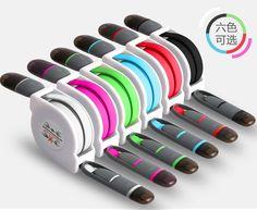 2in1 Daten-/ Ladekabel für iPhone und Android mit Aufroller - Werbeanbringung Doming-Sticker