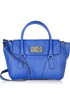 awesome blue mina ostrich effect leather satchel by milly