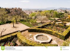 Garden and views of the historic sites of Alhambra in Spain