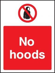 No hoods general safety sign