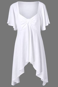 $16.17 Butterfly Sleeve Asymmetrical Plus Size Tee - White