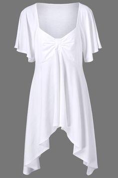 $16.17 Butterfly Sleeve Asymmetrical Plus Size Tee - White
