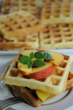 Pancetta waffles with peaches.