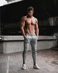 GINGTTO Men Slim Fit Chino Pants Stretch Skinny Fit Gray Tartan Golf Trousers Gym Outfit Men, Guy Outfits, Workout Routine For Men, Abs Boys, Herren Outfit, Slim Fit Chinos, Photography Poses For Men, Hommes Sexy, Muscular Men