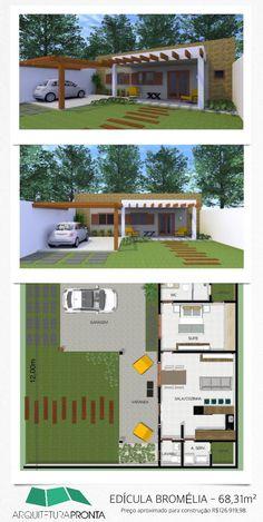 Edícula como moradia arrojada. Área de 68,31m². Preço aproximado para construção R$126.919,98. #edicula #plantadecasa #projeto #residencia