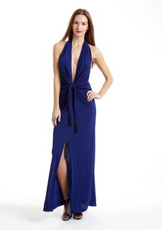Sexy much?  Deep Halter Gown with Front Slit by BCBG Max Azria