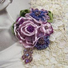 Beaded Satin RibbonCorsage Brooch  http://roses-and-teacups.com/satin-ribbon-roses.php