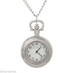 JP 1PC Necklace Chain Hollow Pocket Watch Patterned Silver Tone 80.5cm