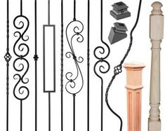 Iron balusters - Iron stair parts - Iron stair railing - Parts for stairs - Stair spindles - Stair building material - Home improvement : Iron balusters Iron stair parts Iron stair railing Parts Stair Railing Parts, Metal Stair Spindles, Aluminum Handrail, Wrought Iron Handrail, Iron Balusters, Metal Stairs, Parts Of Stairs, Staircase Railings, Modern Stairs