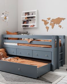 Our multifunctional Matilda Bed optimises space for smaller bedrooms. This chic cabin bed caters to all your storage needs. Minimal styling, a chic grey shade and clean lines promote a neat and tidy vibe – now who doesn't want that for their children's bedroom? Bed With Underbed, Underbed Storage Drawers, Modern Kids Bedroom, Wooden Slats, Under Bed Storage, Neat And Tidy, Dust Mites, Bedroom Storage, Multifunctional