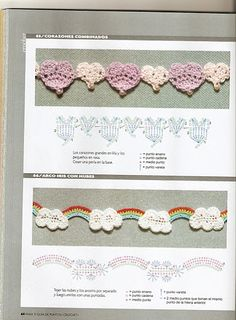 SANDRA PONTOS DE CROCHÊ E TRICÔ........... crochet heart edging and crochet cloud (with rainbow) edging. Graphed