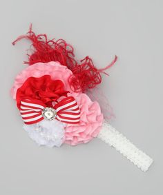 Take a look at this Pink & White Over the Top Headband by Pixiedust Pretties on #zulily today!