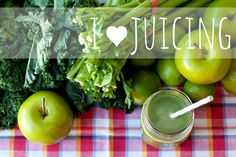 We love juicing! Green juice with apple, lime, kale and celery makes us happy!
