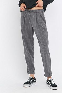 Light Before Dark Zip Front Checked Grey Trousers - Urban Outfitters