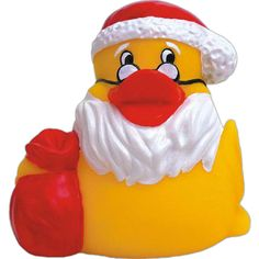Rubber Santa Claus duck. Duck with Santa hat beard and glasses with red sack in…
