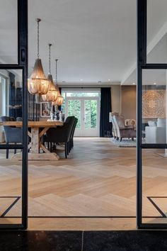 Living room design with herringbone floor Home Living Room, Living Room Designs, Living Spaces, Home Interior Design, Interior Architecture, Interior Decorating, Sweet Home, New Homes, House Styles