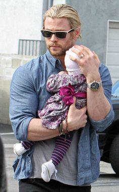 Chris Hemsworth Cradles Daughter India Rose During Family Lunch Date
