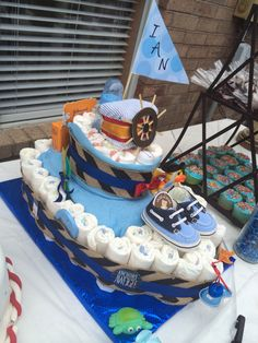 My first boat diaper cake!
