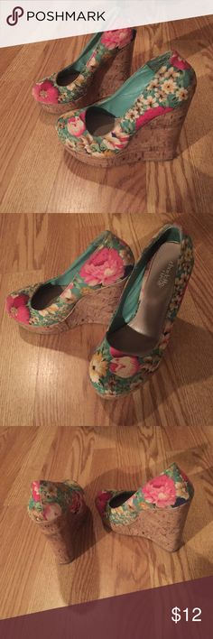 •Floral wedges•  colorful (teal, pink, yellow, white) wedges. matches almost any outfit. from •charlotte russe • all offers considered!  Shoes Wedges