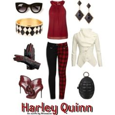 A wearable feminine #HarleyQuinn #outfit I created, inspired by the #DCComics character. #geek #fashion