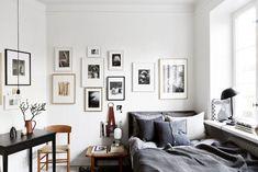 Tiny Studio Apartment With Big Style - Gravity Home Design Apartment, Apartment Living, Apartment Ideas, White Studio Apartment, Bedroom Apartment, Home Bedroom, Bedroom Decor, Wall Decor, Gray Bedroom