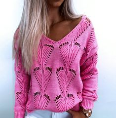 Rompers Women, Jumpsuits For Women, Winter Sweaters, Pink Sweater, V Neck Tops, Pulls, Long Sleeve Sweater, Skinny, Knitting