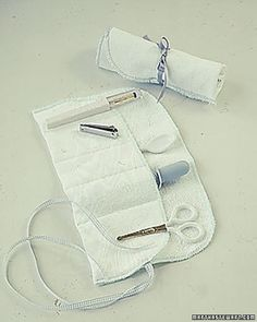 LOVE!!!!!  Basic Baby Kit  Sew pockets into a soft terry-cloth washcloth to keep baby-care essentials -- nail clippers, scissors, thermometer, and comb -- all in one place.  How to Make the Basic Baby Kit