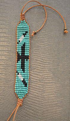 Risultati immagini per how to add leather border to loom beaded bracelet Bead Loom Designs, Bead Loom Patterns, Beading Patterns, Fork Bracelet, Bead Loom Bracelets, Beaded Earrings, Beaded Jewelry, Beaded Leather Wraps, Friendship Bracelet Patterns
