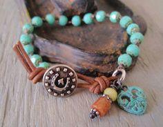 Southwestern knotted bracelet  Lucky Charm  by slashKnots on Etsy, $48.00