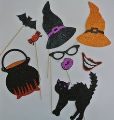 Halloween Photo Booth Party Props Mustache on a stick with witches hat Bow tie Heart that says boo kiss me Halloween Photo Booth Props, Photo Booth Party Props, Halloween Photos, Heart Cupcakes, Mustache, Cupcake Toppers, One Pic, Witches, Kiss