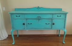 SOLD TO CRYSTAL - Antique French Provincial Buffet, Sideboard, Console, Hand Painted Turquoise / Aquamarine French Country Furniture by MyVintageSoiree on Etsy