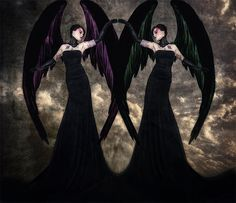 The Gemini SyndromeGothic twin angels fold into by SpokeninRed