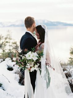 Bridal Veil by Alice & Mae Bridal. Stunning Sunset Elopement in Lake Taho. Via Style Me Pretty