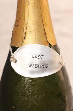 Best Wishes Wine Bottle Tag: Rustic Hand Stamped Silverware Wine Bottle Accessories Wine Marker  $12.00