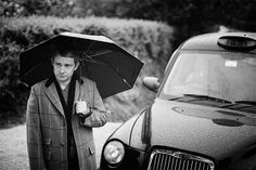 Black and white+neat car+rain=success. Oh, and the fact that Martin Freeman is in it, too. Martin Freeman, Mr Martin, Benedict And Martin, Sherlock Series, Sherlock Holmes, Sherlock Fandom, Louise Brealey, 221b Baker Street, Wattpad