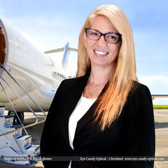 Stephani boards a private plane in her new executive designer glasses by Face a Face. Eye Candy – High Flying Executive of The Finest European Eyewear Fashion! Eye Candy Optical Cleveland – The Best Glasses Store! (440) 250-9191 - Book an Eye Exam Online or Over the Phone  www.eye-candy-optical.com