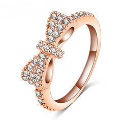 Lovely Bow Rose Gold Plated Cubic Zirconia Romantic Ring - My Wedding Ideas