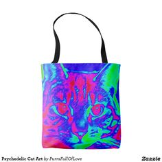 Our Psychedelic tote bags are great for carrying around your school & office work, or other shopping purchases. Shop our designs today! Store Design, Cat Art, Psychedelic, Line Art, Reusable Tote Bags, Kitty, Cats, Little Kitty, Gatos