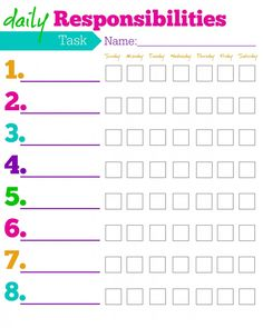 Daily Responsibilities Chart for Kids! FREE Printable to Help Motivate Your Kids!