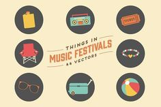 Things in Music Festivals-44 Vectors by Little Pixel Shop on @creativemarket