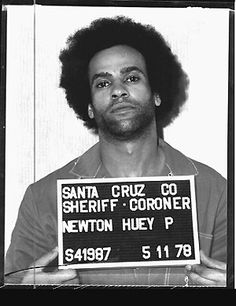Huey Percy Newton Mug-shot. Co-founded Black Panther Party 1966 Political Activist A Prime Remast Black Panther Party, Angela Davis, Sierra Leone, Sheriff, Black Panthers Movement, Civil Rights Leaders, By Any Means Necessary, Black History Facts, Strange History