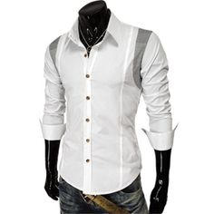 (DST5-WHITE) Mens Checker Patched Double Neck Button Long Sleeve Stretchy Shirts