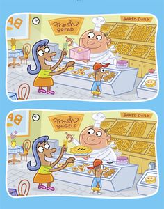 How many differences can you can find in these two pictures of a bakery?