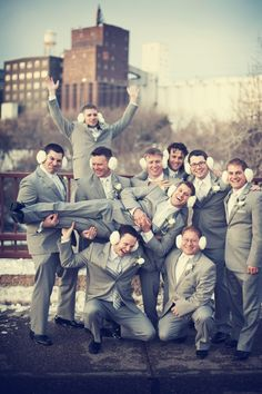 The guys with ear muffs! Cute! Photo by Danielle.  #weddingphotographersMN #groomsmen #weddingphotography