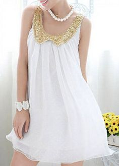 cute dress with a gold sequin collar