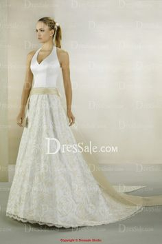 Beautiful Halter Neckline Princess Wedding Dress with Lace and Ribbon Embellishments