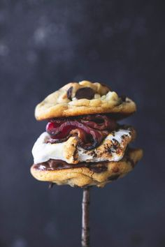 Grilled Chocolate Chip Cookie Bacon S'mores