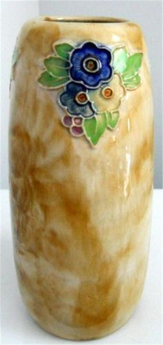 VINTAGE 1940s ROYAL DOULTON 9  GLAZED STONEWARE VASE with FLORAL RELIEF