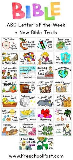 Letter of the Week Bible Lessons! One Letter each week with a NEW Bible truth for children to learn. Includes all printables, worksheets, lessons, games, activities and planning sheets. Perfect for Homeschool or Sunday School.